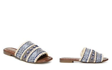 Sam Edelman Women's Brandon Raffia & Leather Slide Sandals - Bloomingdale's_2