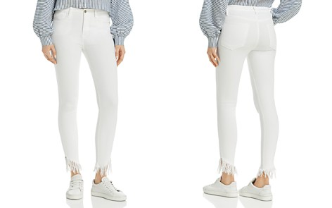 FRAME Le High Shredded Raw-Edge Skinny Jeans in Blanc - Bloomingdale's_2