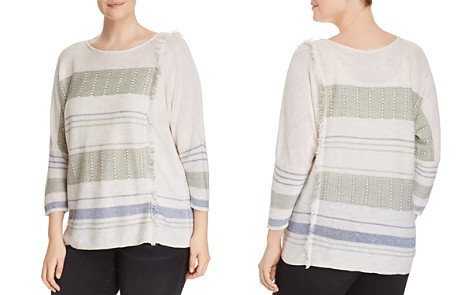 NIC+ZOE Plus Juniper Frayed-Trim Top - Bloomingdale's_2