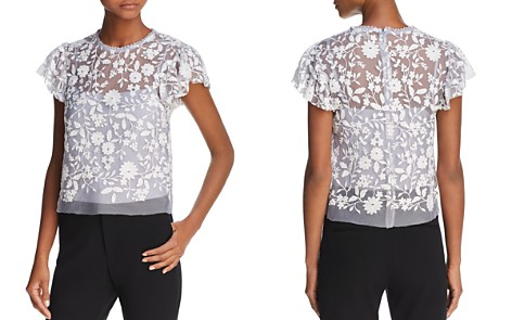 AQUA Embroidered Flutter Sleeve Top - 100% Exclusive - Bloomingdale's_2