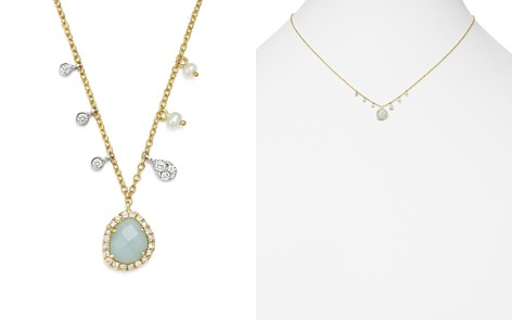 "Meira T 14K White & Yellow Gold Milky Aquamarine, Diamond & Dangling Cultured Freshwater Seed Pearl Necklace, 16"" - Bloomingdale's_2"