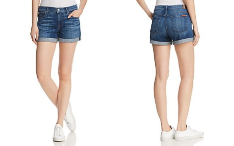 7 For All Mankind Midroll Denim Shorts in Broken Twill Desert Trail - Bloomingdale's_2
