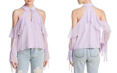 Alice + Olivia Blayne Ruffled Cold-Shoulder Silk Top - Bloomingdale's_2