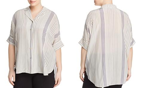 Eileen Fisher Plus Notch Collar Stripe Silk Blouse - Bloomingdale's_2