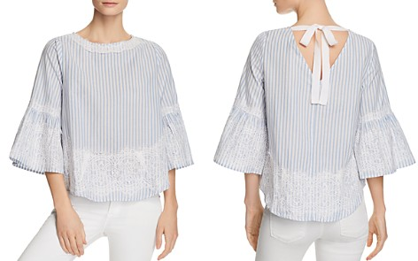 Alison Andrews Bell Sleeve Lace Overlay Stripe Top - Bloomingdale's_2