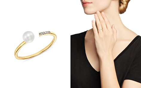 MATEO 14K Yellow Gold Cultured Freshwater Pearl & Diamond Open Ring - Bloomingdale's_2