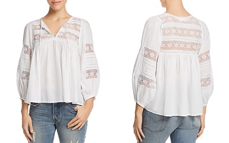 Velvet by Graham & Spencer Evie Lace-Inset Peasant Top - Bloomingdale's_2