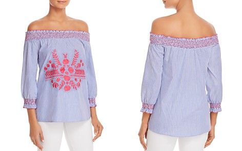 Design History Embroidered Pinstripe Off-The-Shoulder Top - Bloomingdale's_2