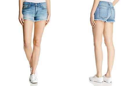 7 For All Mankind Cutoff Denim Shorts in Bright Palms - Bloomingdale's_2