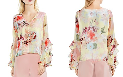 VINCE CAMUTO Faded Bloom Ruffle Bell Sleeve Blouse - Bloomingdale's_2