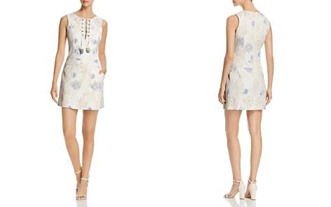 Badgley Mischka Floral Jacquard Lace-Up Shift Dress - Bloomingdale's_2