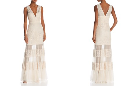 BCBGMAXAZRIA Sleeveless Lace Sheer-Hem Gown - Bloomingdale's_2