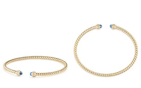 David Yurman Cable Spira Bracelet in 18K Gold with Hampton Blue Topaz & Diamonds - Bloomingdale's_2