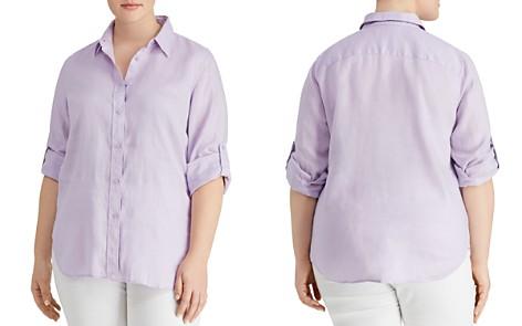 Lauren Ralph Lauren Plus Linen Button-Down Top - Bloomingdale's_2