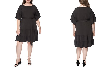B Collection by Bobeau Curvy Angel Belted Flutter Dress - Bloomingdale's_2