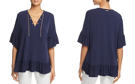 MICHAEL Michael Kors Ruffle-Trimmed Chain Lace-Up Top - Bloomingdale's_2