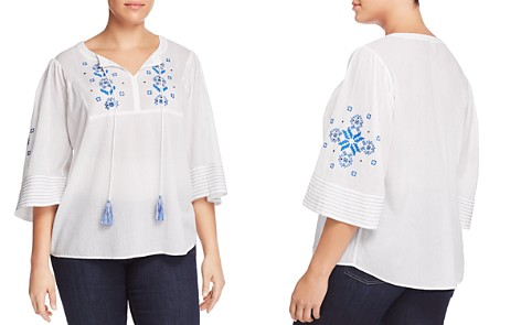 VINCE CAMUTO Plus Embroidered Peasant Top - Bloomingdale's_2