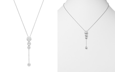 Diamond Cluster Drop Y Necklace in 14K White Gold, 1.0 ct. t.w. - Bloomingdale's_2
