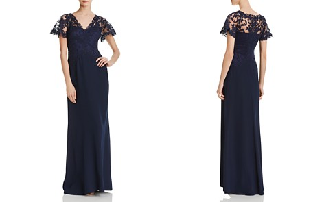 Tadashi Shoji Lace-Overlay Crepe Gown - Bloomingdale's_2
