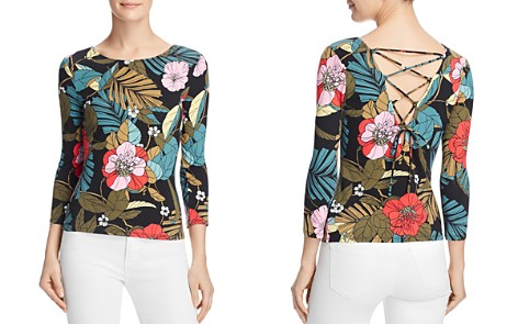 GUESS Gillian Lace-Up Floral-Print Top - Bloomingdale's_2