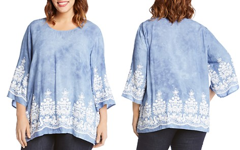 Karen Kane Plus Embroidered Marble-Dyed Top - Bloomingdale's_2