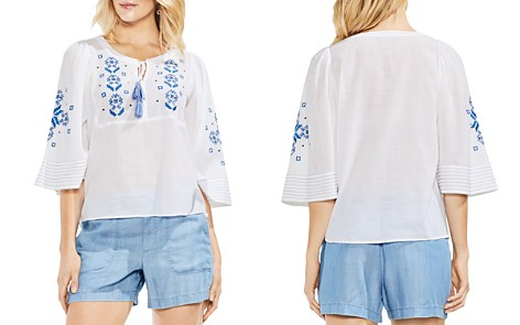 VINCE CAMUTO Embroidered Gauze Peasant Top - Bloomingdale's_2