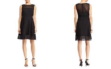 Lauren Ralph Lauren Petites Lace-Inset Crepe Dress - Bloomingdale's_2
