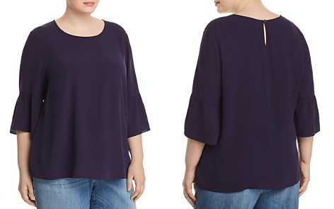Eileen Fisher Plus Bell-Sleeve Silk Top - Bloomingdale's_2
