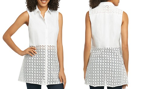 Foxcroft Eyelet Tunic Top - Bloomingdale's_2