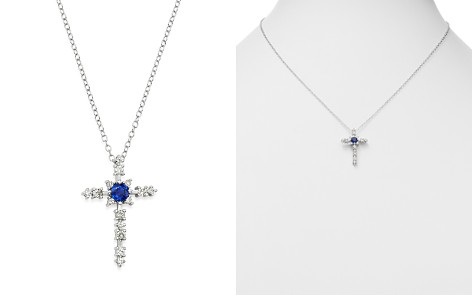 "Bloomingdale's Sapphire & Diamond Cross Pendant Necklace in 14K White Gold, 18"" - 100% Exclusive _2"