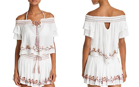 Surf Gypsy Embroidered Off-the-Shoulder Top & Embroidered Mini Skirt Swim Cover-Up - Bloomingdale's_2
