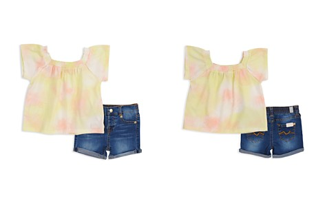 7 For All Mankind Girls' Tie-Dye Top & Denim Shorts Set - Baby - Bloomingdale's_2