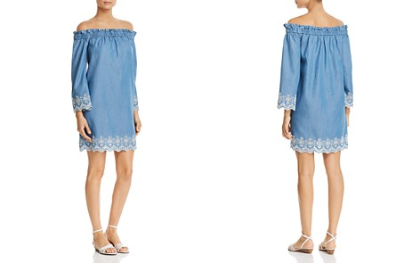 MICHAEL Michael Kors Embroidered Chambray Off-the-Shoulder Dress - Bloomingdale's_2