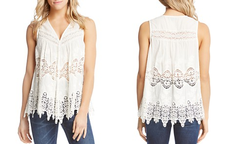 Karen Kane Sleeveless Embroidered Lace-Inset Top - Bloomingdale's_2