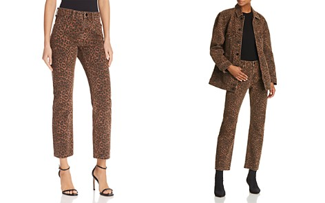 T by Alexander Wang Cult Cropped Straight Jeans in Tan Leopard - Bloomingdale's_2