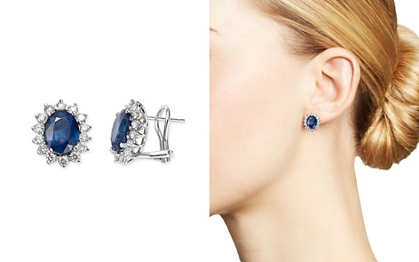Bloomingdale's Blue Sapphire & Diamond Stud Earrings in 14K White Gold - 100% Exclusive_2