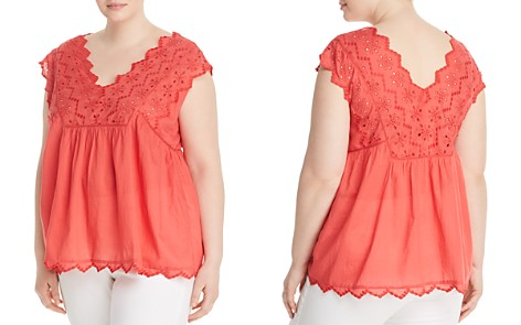 Lucky Brand Plus V-Neck Eyelet Top - Bloomingdale's_2