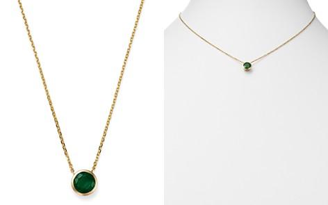 "Bloomingdale's Emerald Bezel Pendant Necklace in 14K Yellow Gold, 16"" - 100% Exclusive _2"