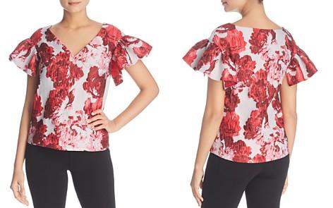 Badgley Mischka Floral Brocade Ruffle-Sleeve Top - Bloomingdale's_2