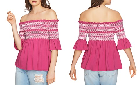 1.STATE Smocked Embroidered Off-the-Shoulder Top - Bloomingdale's_2