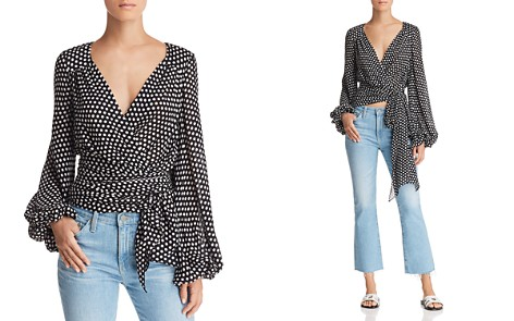 MILLY Rachel Dot Silk Wrap Top - Bloomingdale's_2