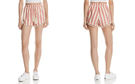 AQUA Pom-Pom Trim Striped Shorts - 100% Exclusive - Bloomingdale's_2