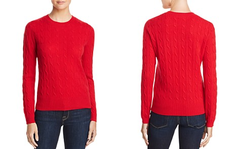AQUA Cashmere Cable Crewneck Cashmere Sweater - 100% Exclusive - Bloomingdale's_2