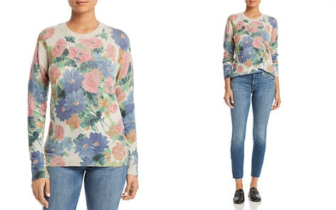C by Bloomingdale's Floral Print Cashmere Sweater - 100% Exclusive _2