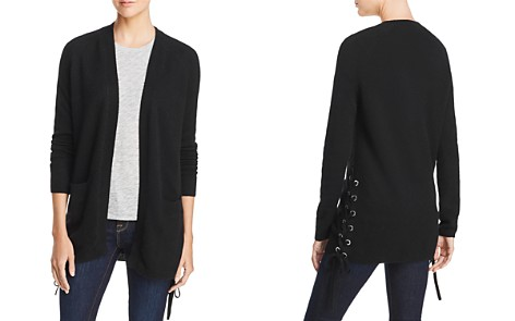 AQUA Cashmere Lace-Up Cashmere Cardigan - 100% Exclusive - Bloomingdale's_2