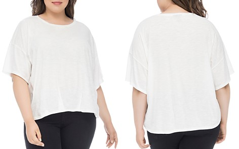 B Collection by Bobeau Curvy Calla Pleat-Front Slub Tee - Bloomingdale's_2