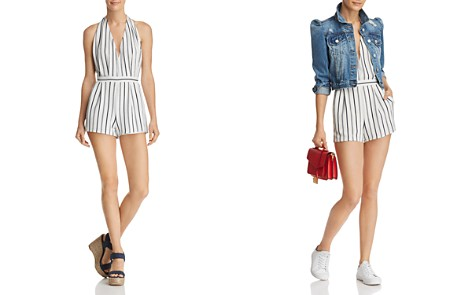 AQUA Striped Halter Romper - 100% Exclusive - Bloomingdale's_2