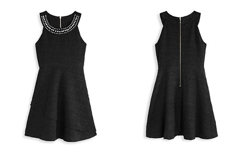 US Angels Girls' Textured Dress with Jeweled Neck - Big Kid - Bloomingdale's_2