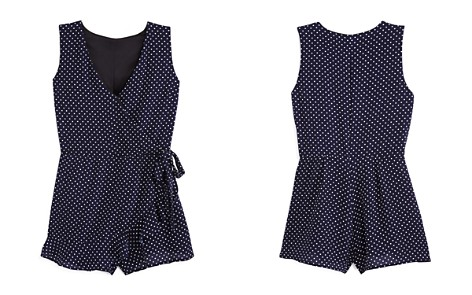 AQUA Girls' Polka Dot Romper, Big Kid - 100% Exclusive - Bloomingdale's_2