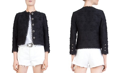The Kooples New Rustic Cropped Textured Lace-Trimmed Jacket - Bloomingdale's_2
